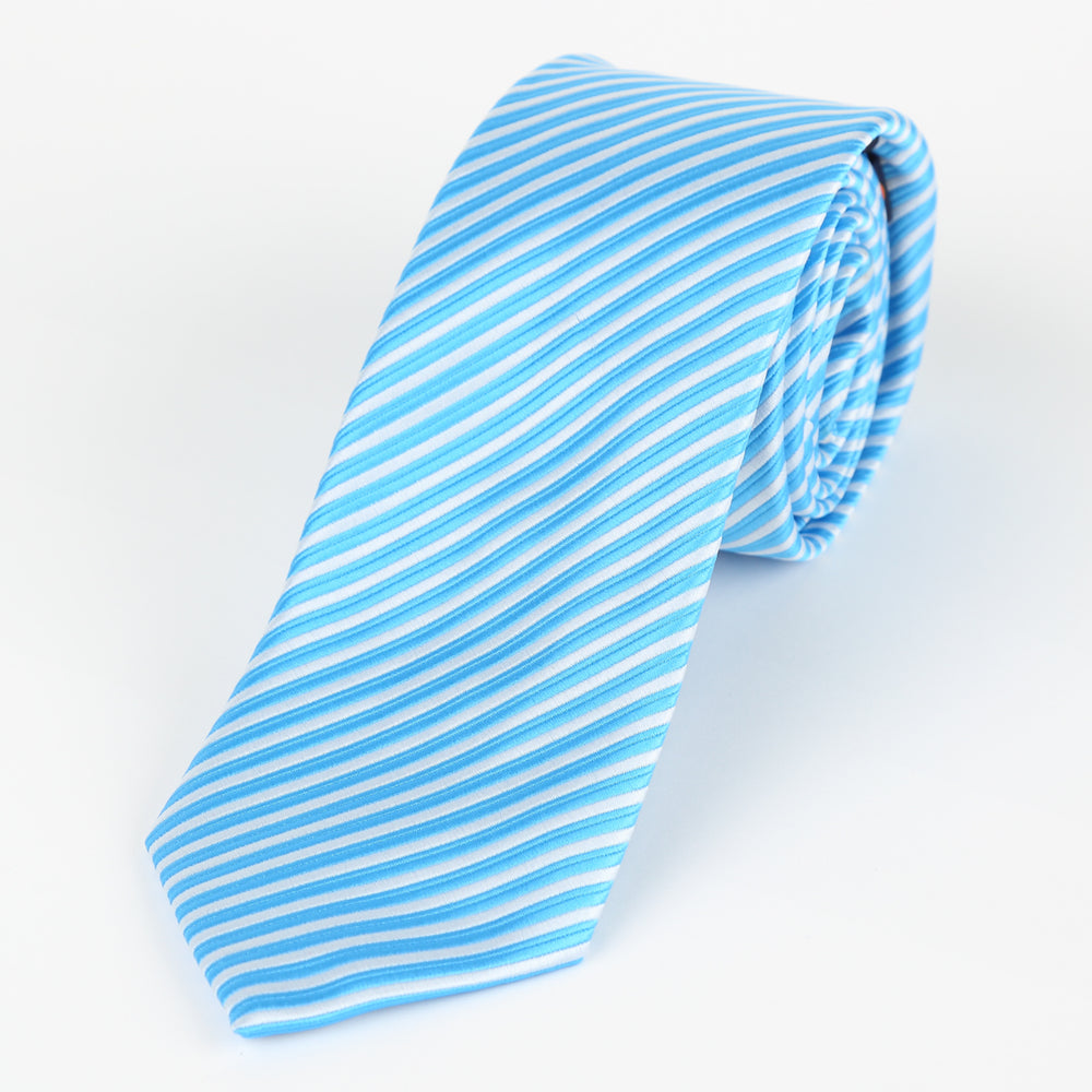 Turq/White - Diagonal Mini Stripe Microfiber Tie