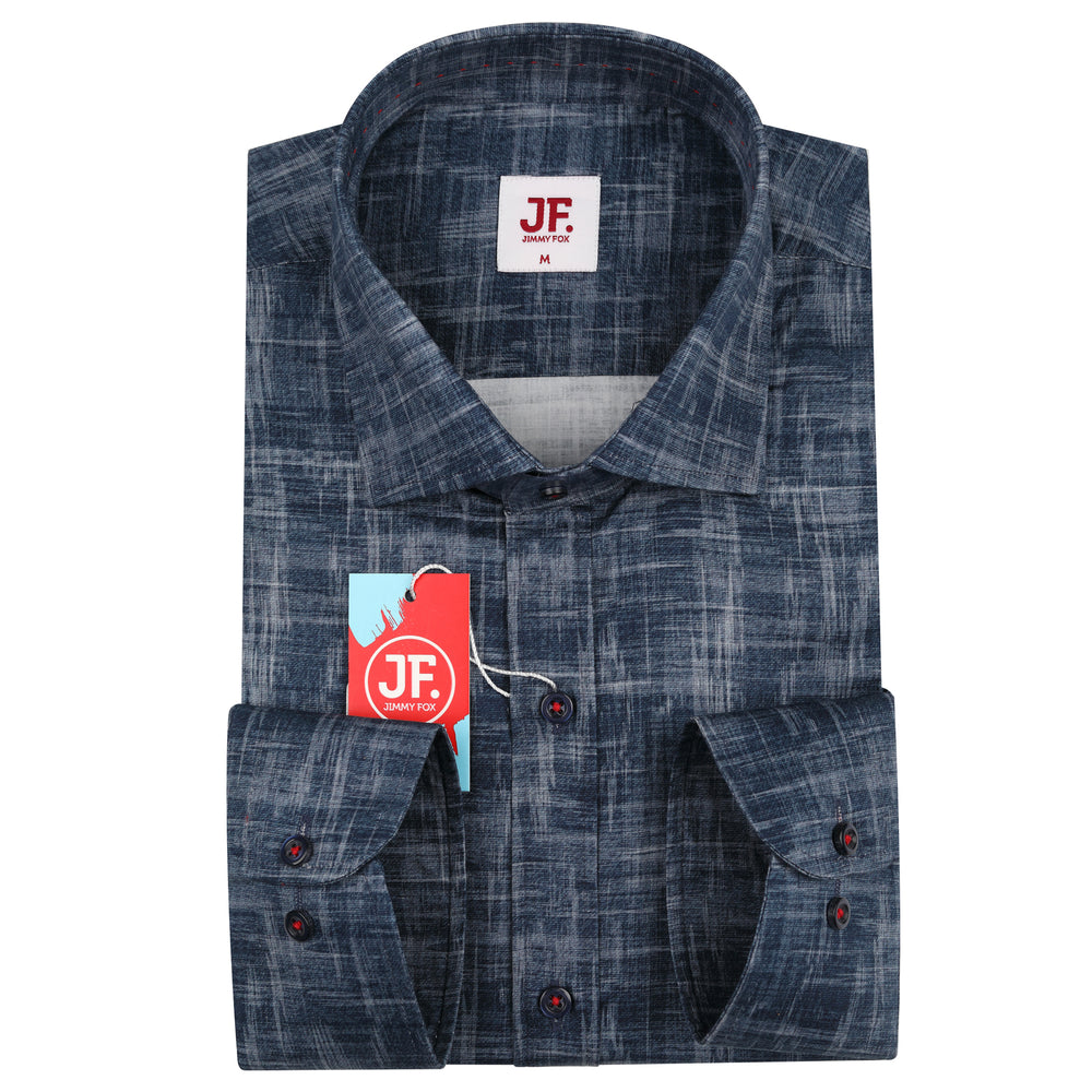 JF080 Blue Denim Print Shirt