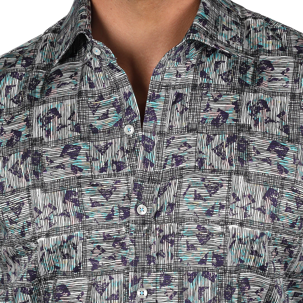 Patterned Squared Print Slim Fit L/S Shirt