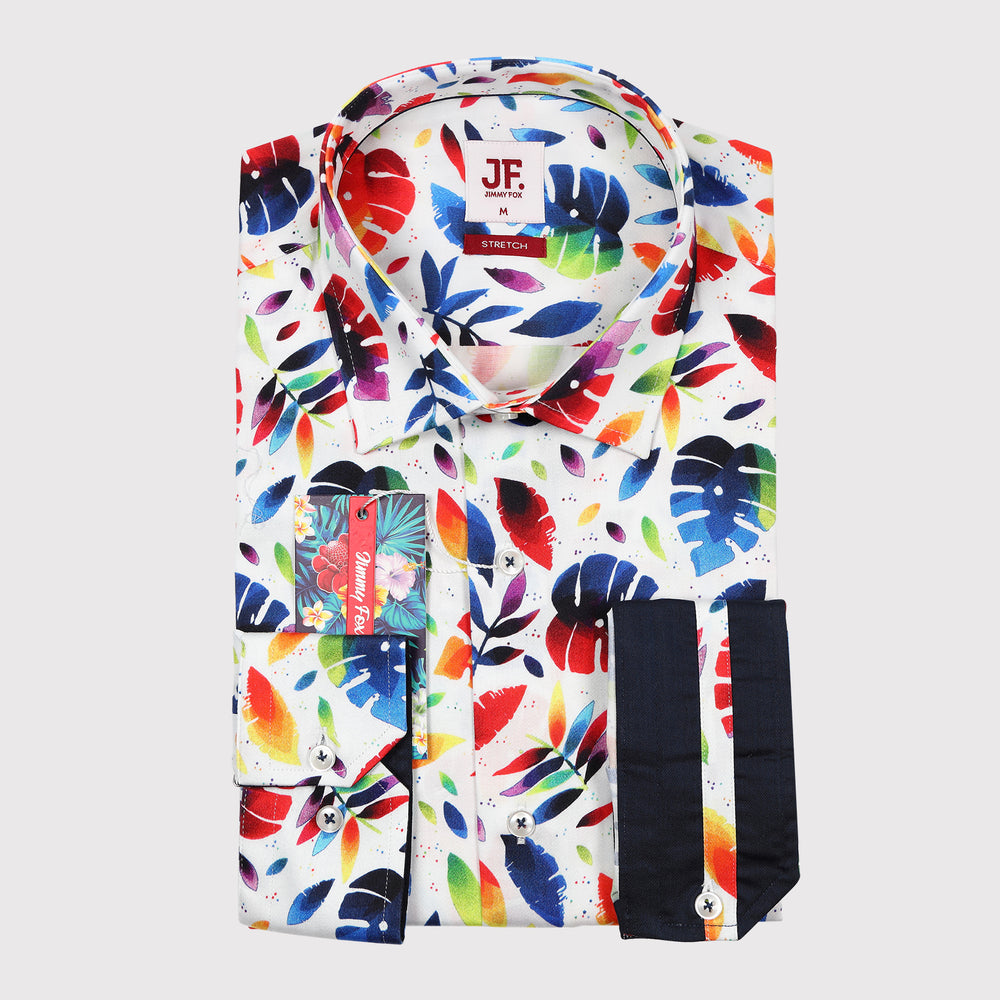 Colourful Summer Floral Print Sateen Stretch Slim Fit L/S Shirt