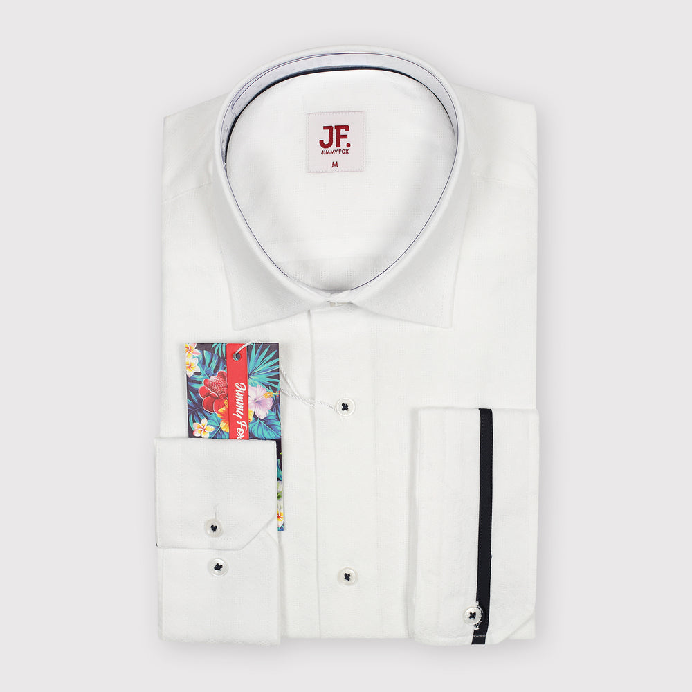 White Subtle Textured Design Slim Fit L/S Shirt