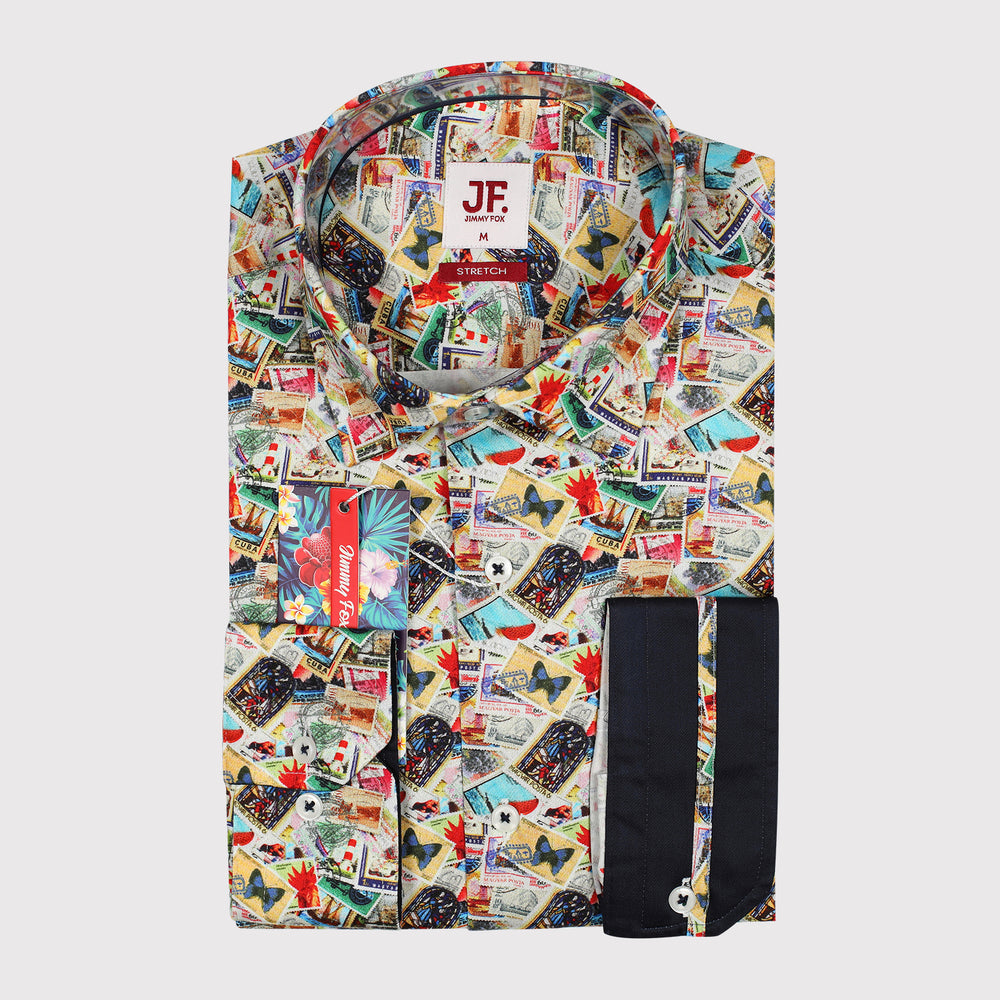 Vintage Stamps Print Sateen Stretch Slim Fit L/S Shirt
