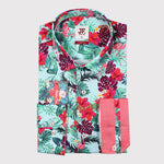 Hibiscus, Leaf and Flamingo Print Sateen Stretch Slim Fit L/S Shirt