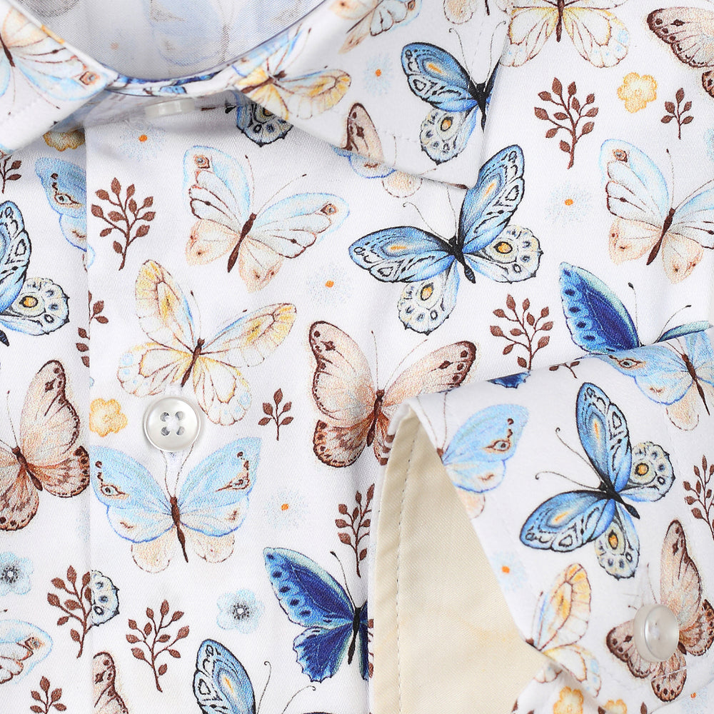 JF305 SHORT SLEEVE Butterfly Print Shirt
