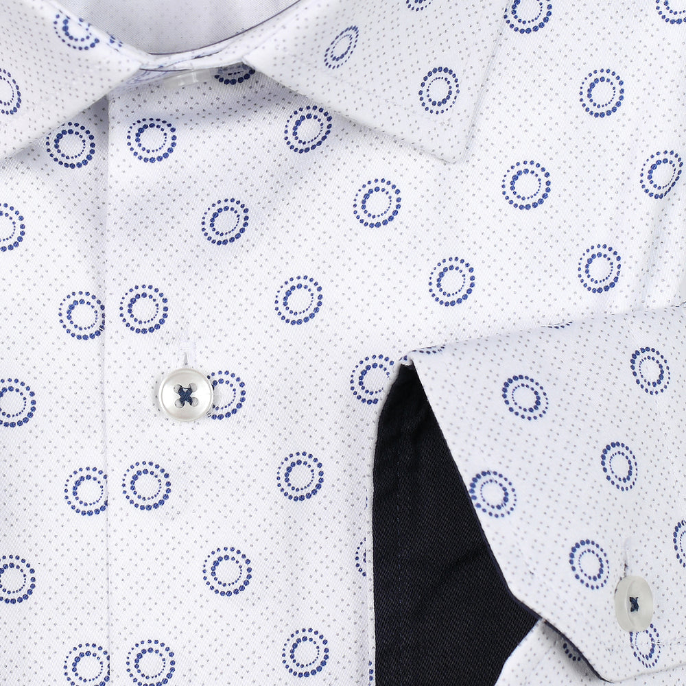 Circular Geometric Print Slim Fit L/S Shirt