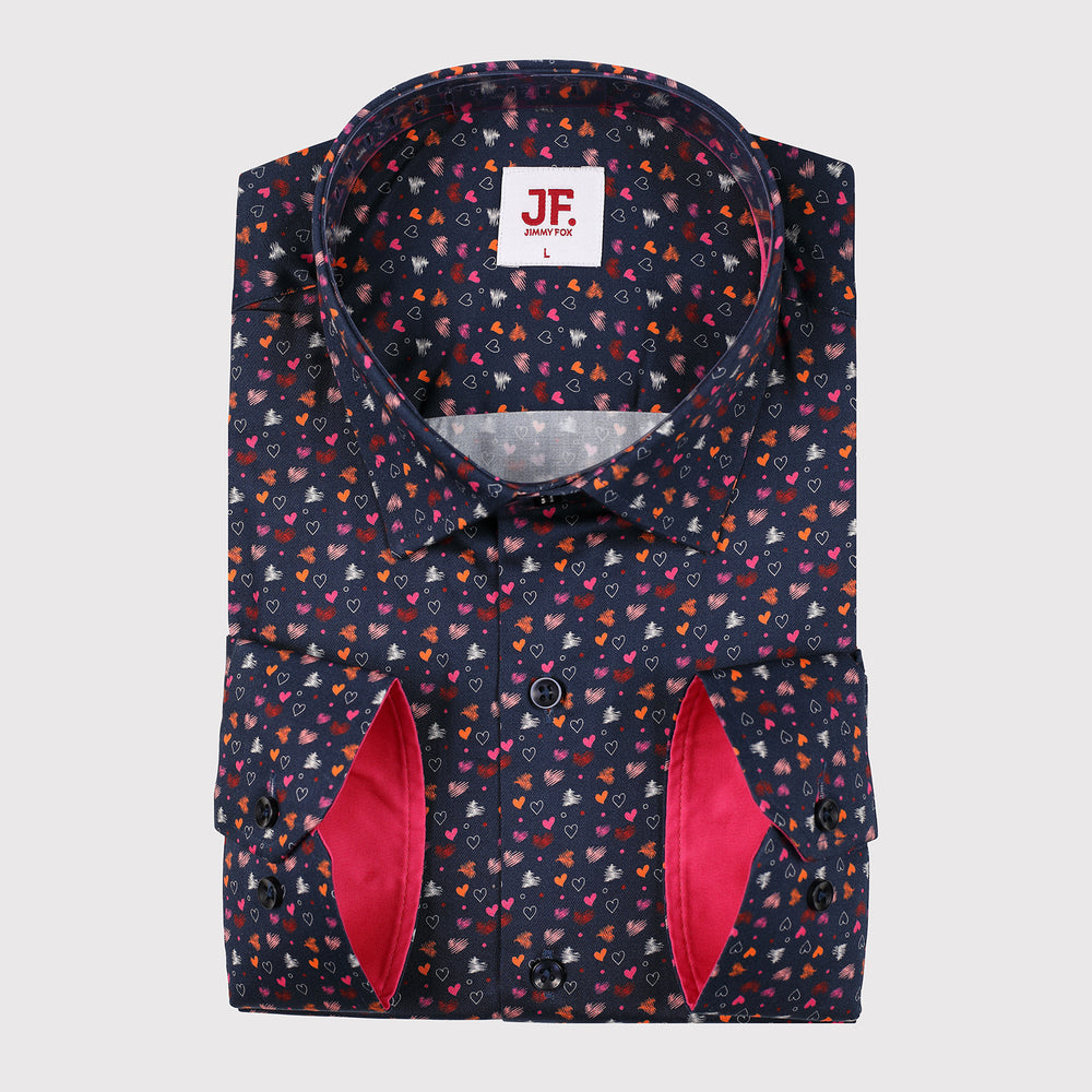 Mini Hearts Print Slim Fit L/S Shirt