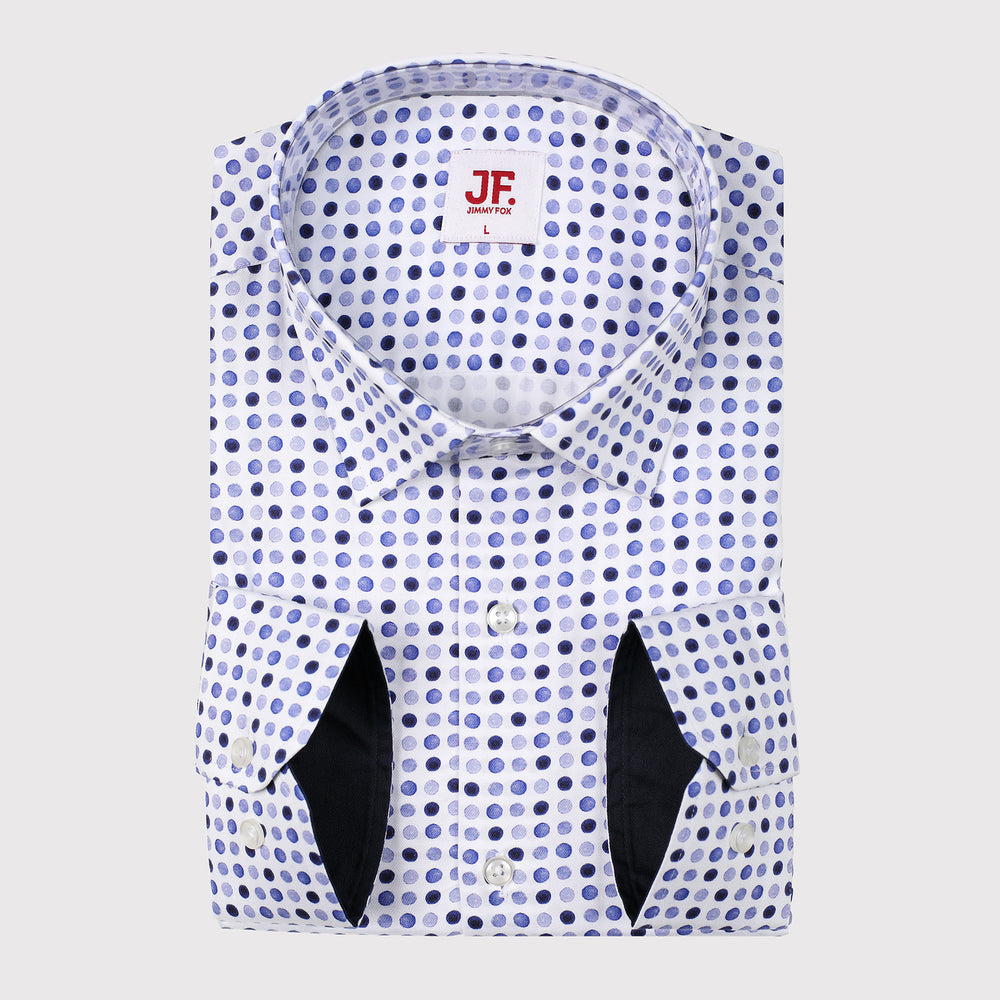 Spotted Print Slim Fit L/S Shirt