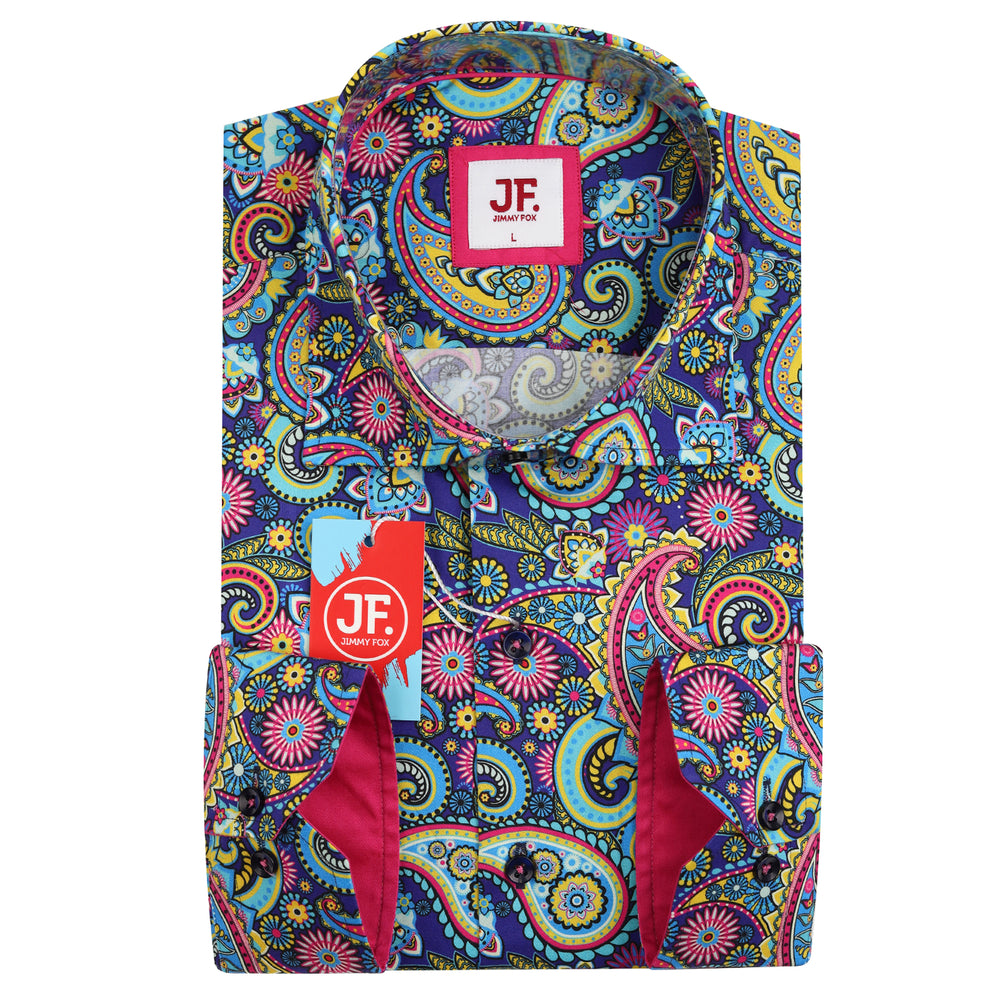 Kaleidoscope Paisley Print Slim Fit L/S Shirt