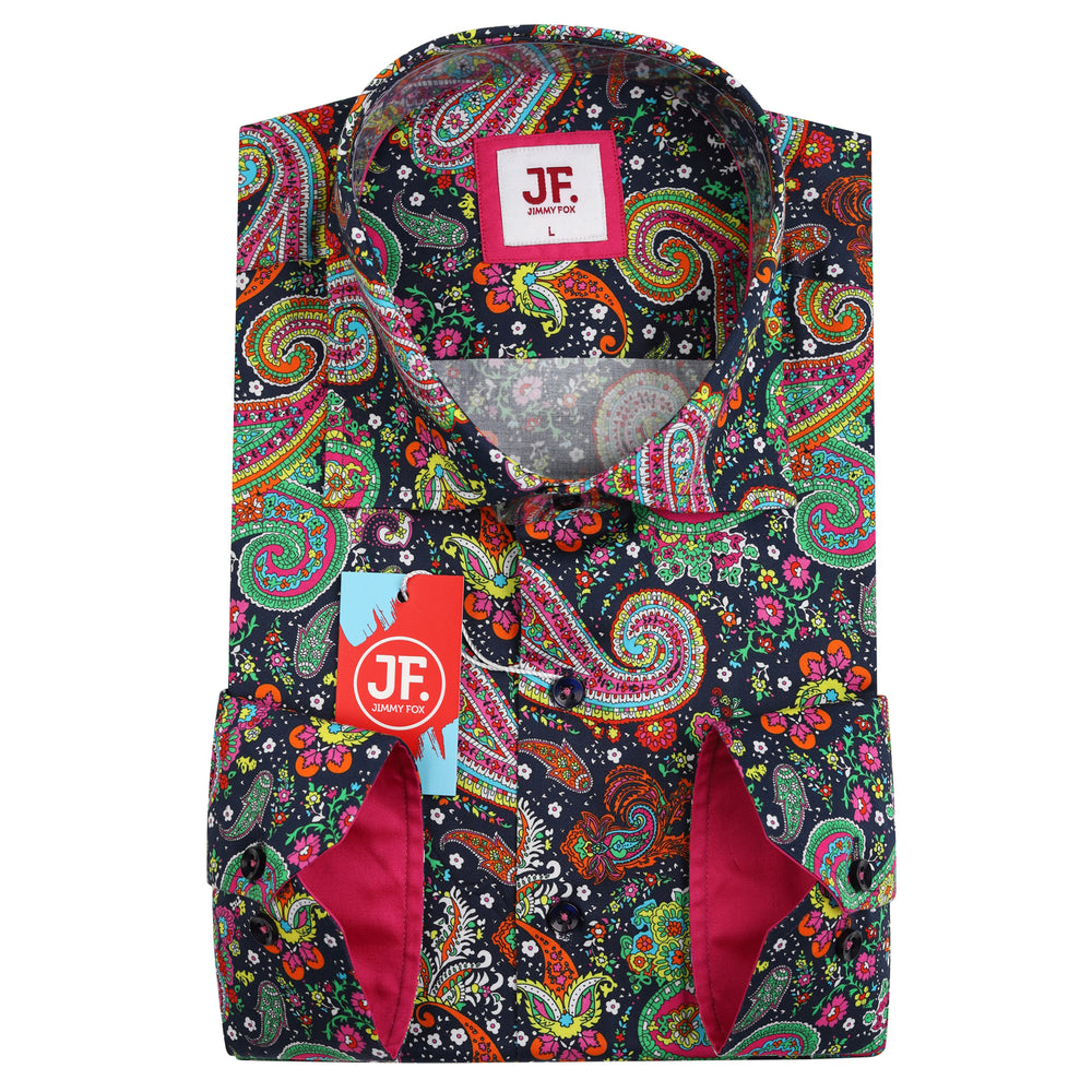 Psychedelic Paisley Print Slim Fit L/S Shirt