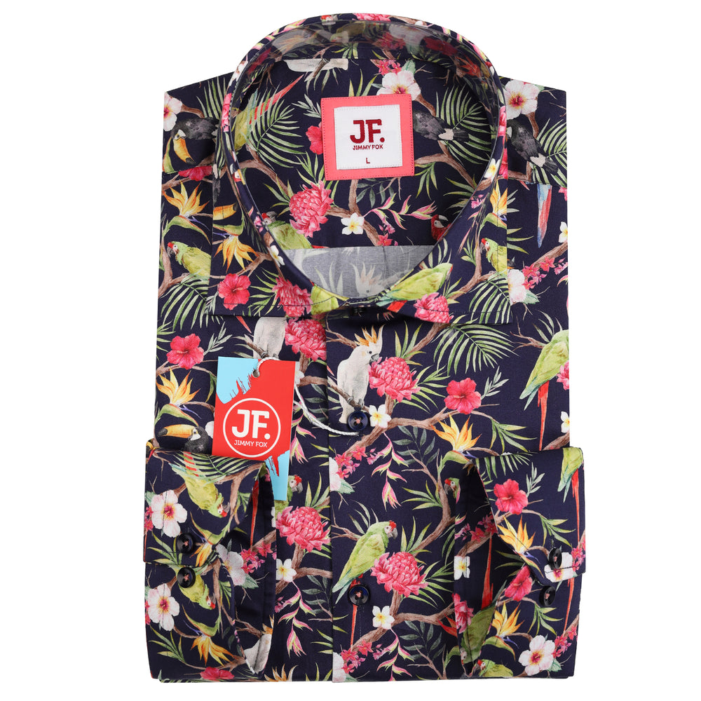 Tropical Print Slim Fit L/S Shirt