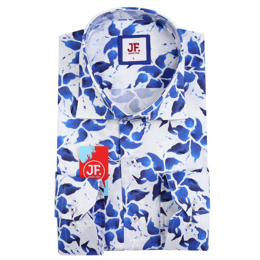 Abstract Floral Print Slim Fit L/S Shirt