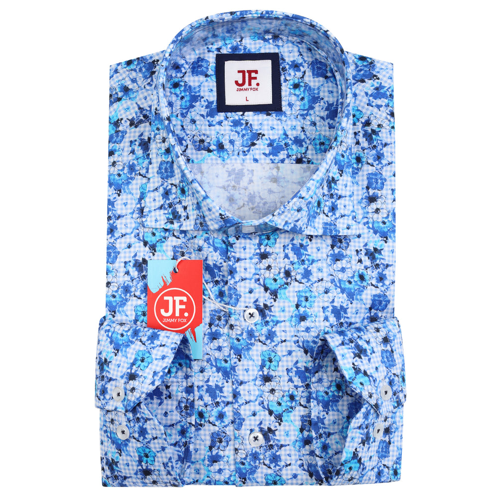 JF846 SHORT SLEEVE Gingham Check Floral Print Shirt