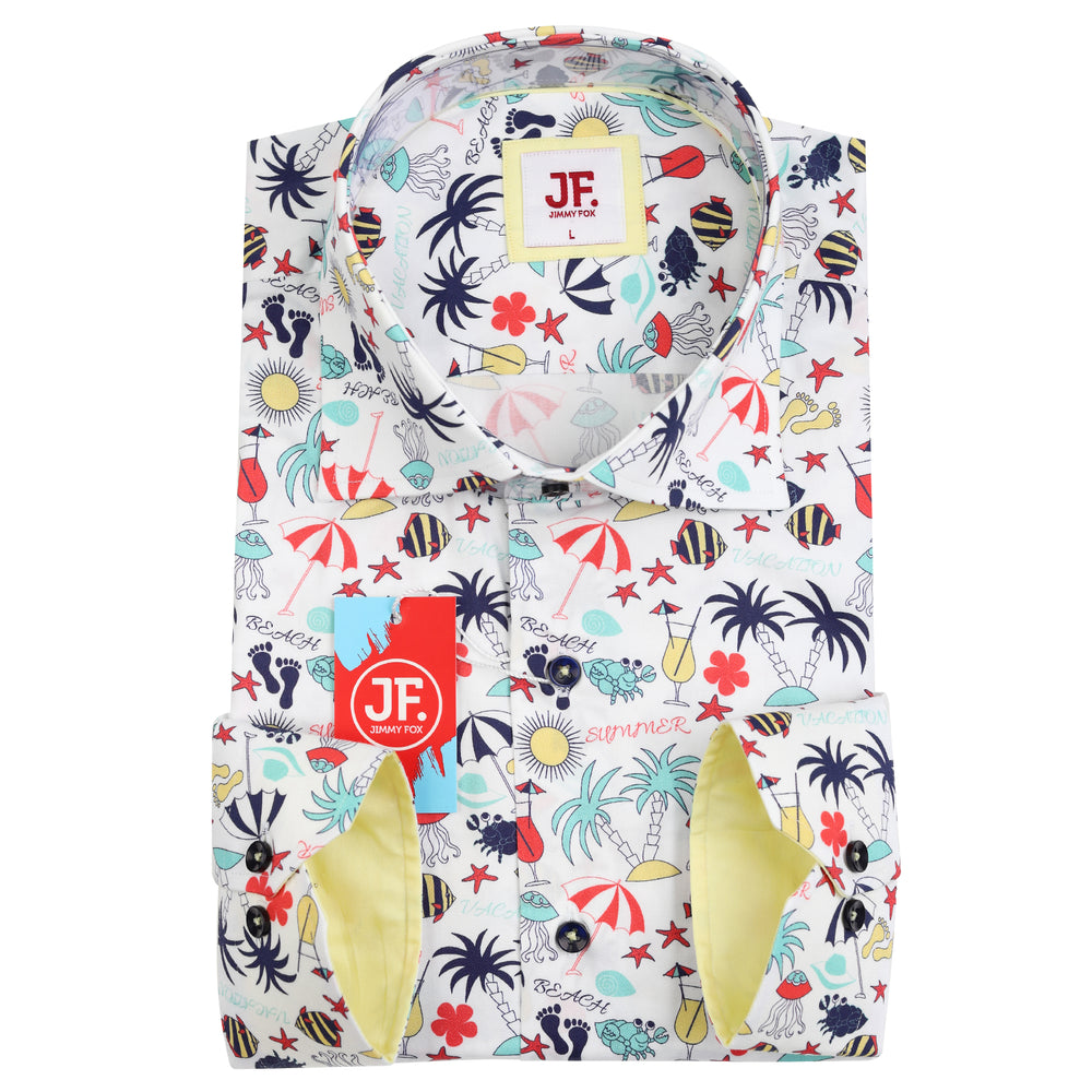 Summer Holiday Print Slim Fit L/S Shirt