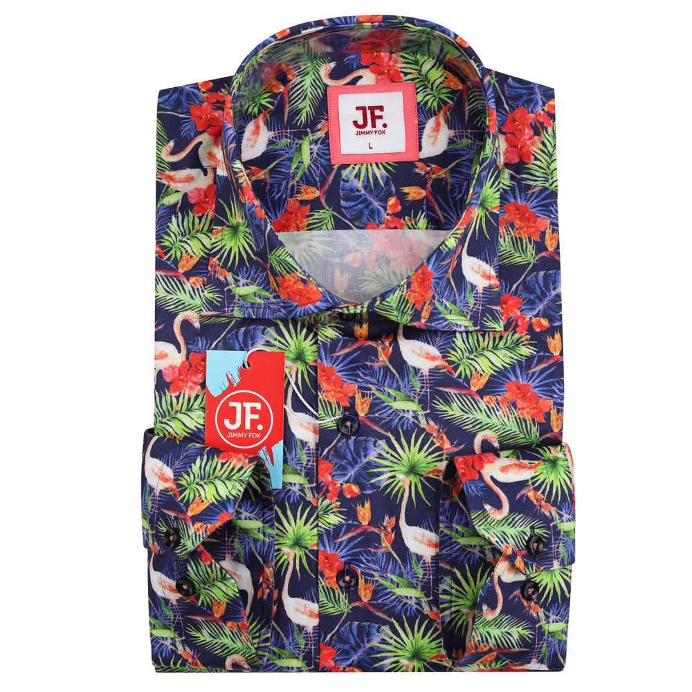 JF856 SHORT SLEEVE Tropical Flamingo Print Shirt