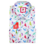 JF859 SHORT SLEEVE Bird Print Shirt