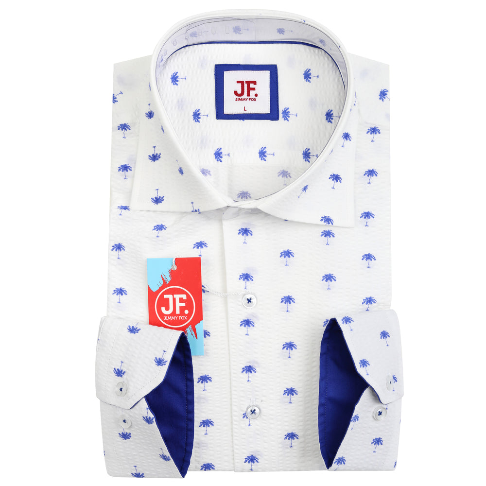 JF863 Seer Sucker Palm Print Shirt