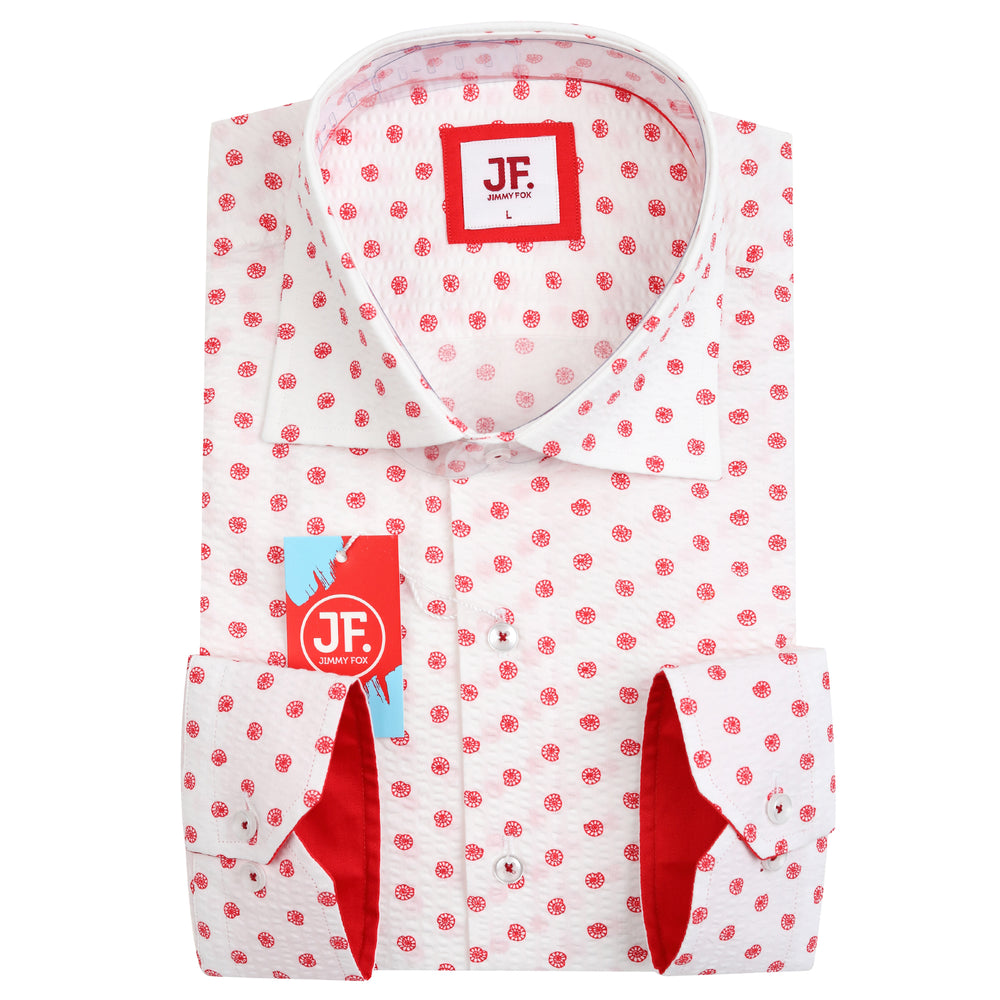 JF864 SHORT SLEEVE Seer Sucker Shells Print Shirt