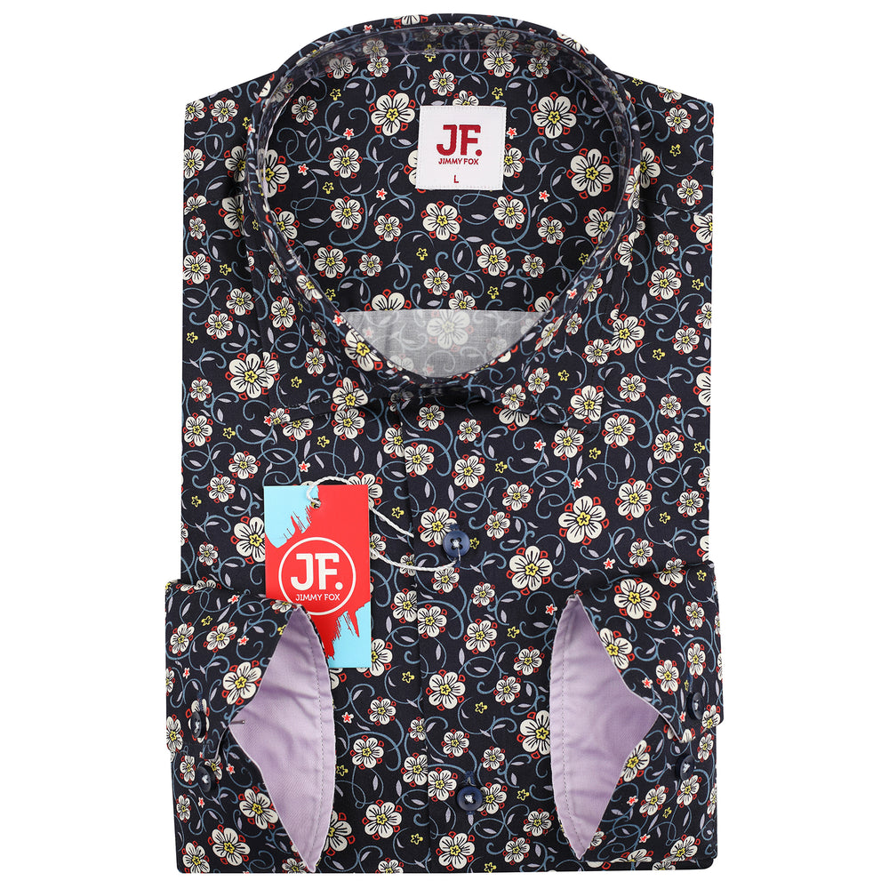 Mini Floral Print Slim Fit L/S Shirt