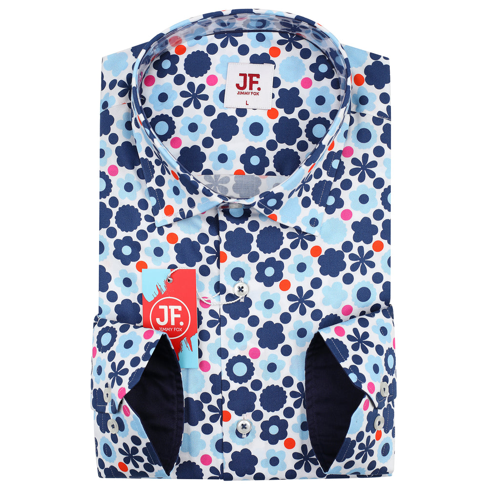 Abstract Flower Print L/S Shirt