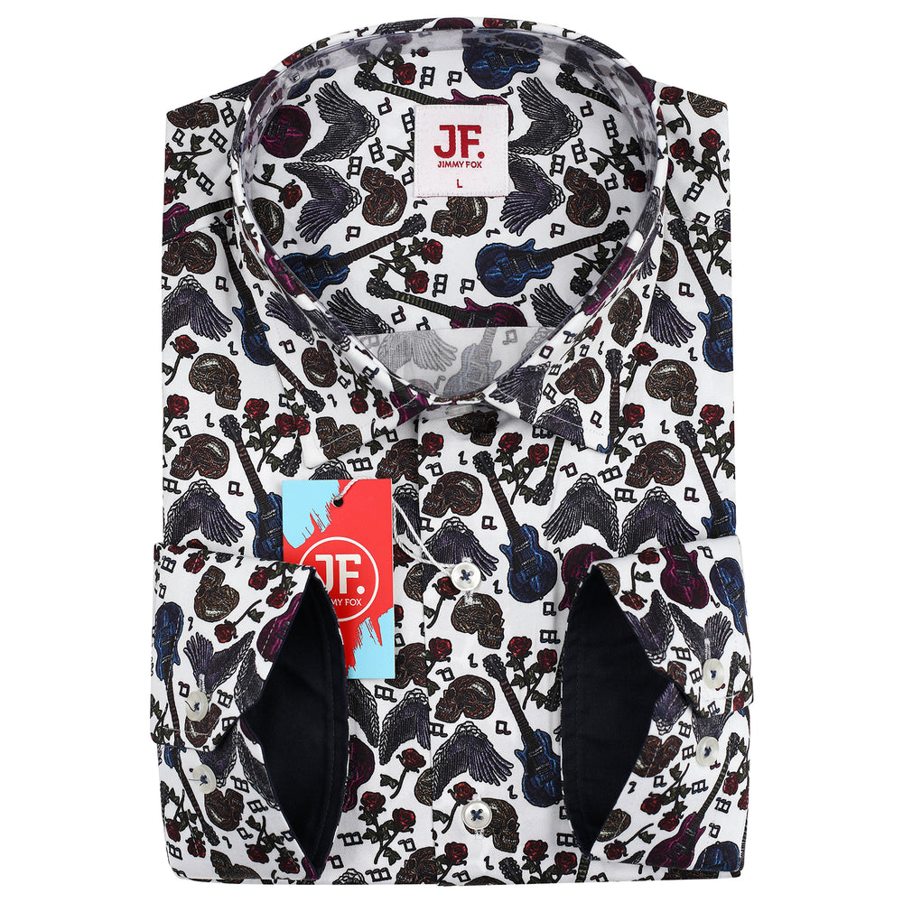 Multi Motif Print Slim Fit L/S Shirt
