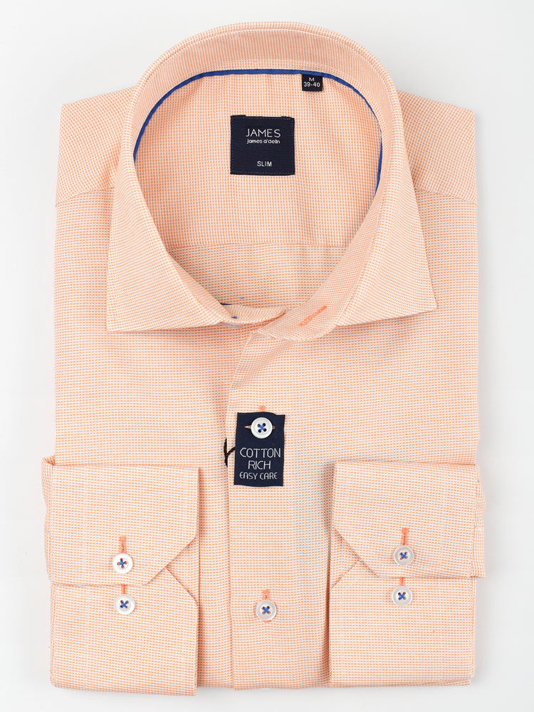 Soft Orange - Textured Weave L/S Business Shirt