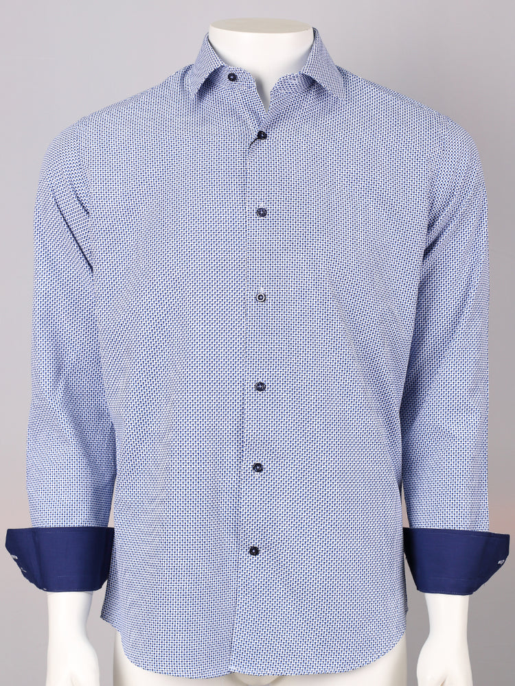 Blue/Navy/White - Textured Weave L/S Business Shirt