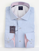 Sky/White - Striped Luxury Cotton/Lycra Shirt