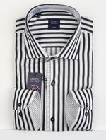 Black/White - Bengal Stripe Cotton/Lycra L/S Shirt