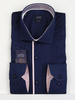 Navy/Pink - Cotton/Lycra L/S Shirt