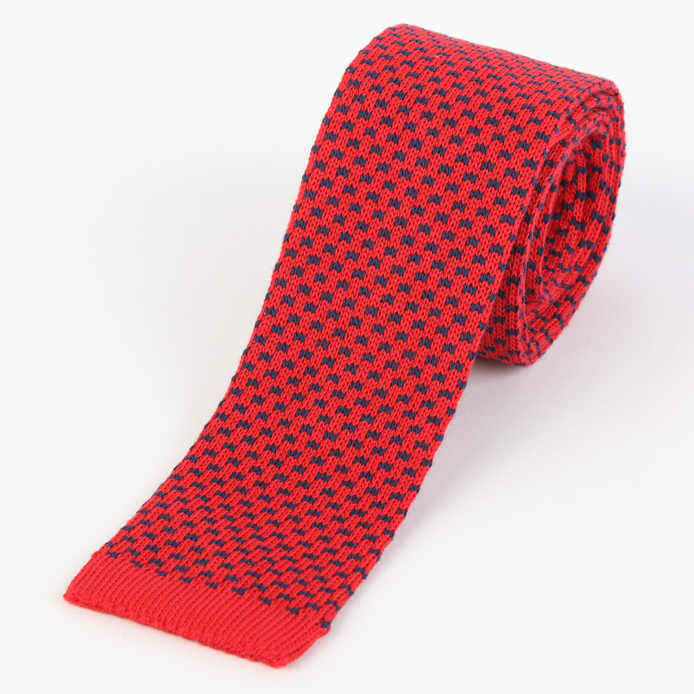 Red - Geometric Italian Knitted Tie