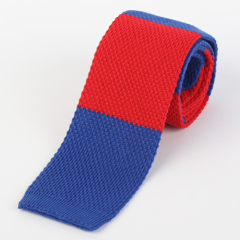 Royal/Red - Block Stripe Italian Knitted Tie
