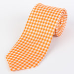 Orange -Check Italian Silk Printed Tie