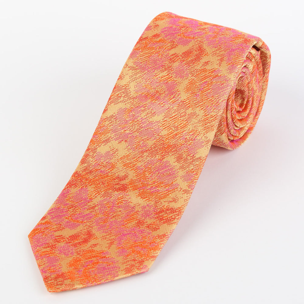 Orange - Floral Satin Italian Silk Tie