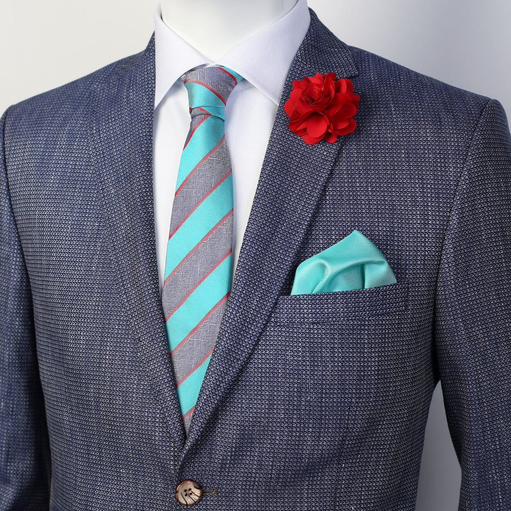 Turquoise - Striped Geometric Italian Silk Tie