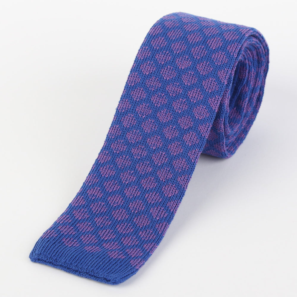 Royal/Lilac - Geometric Italian Knitted Tie