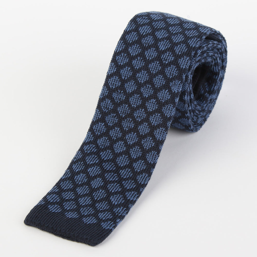 Navy/Blue - Geometric Italian Knitted Tie