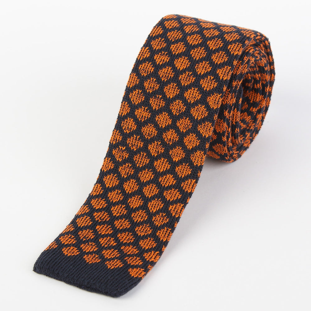 Navy/Orange - Geometric Italian Knitted Tie
