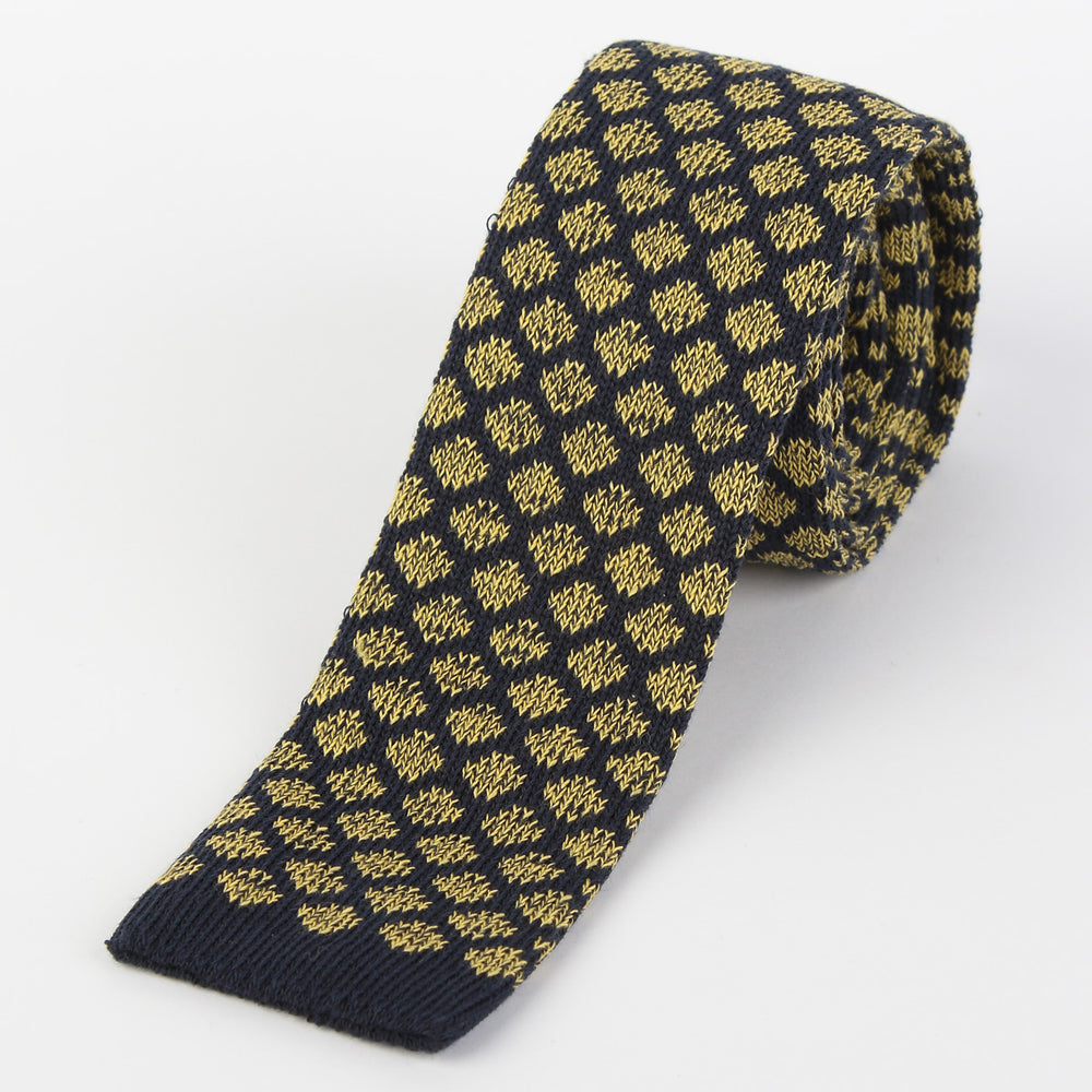 Navy/Gold - Geometric Italian Knitted Tie