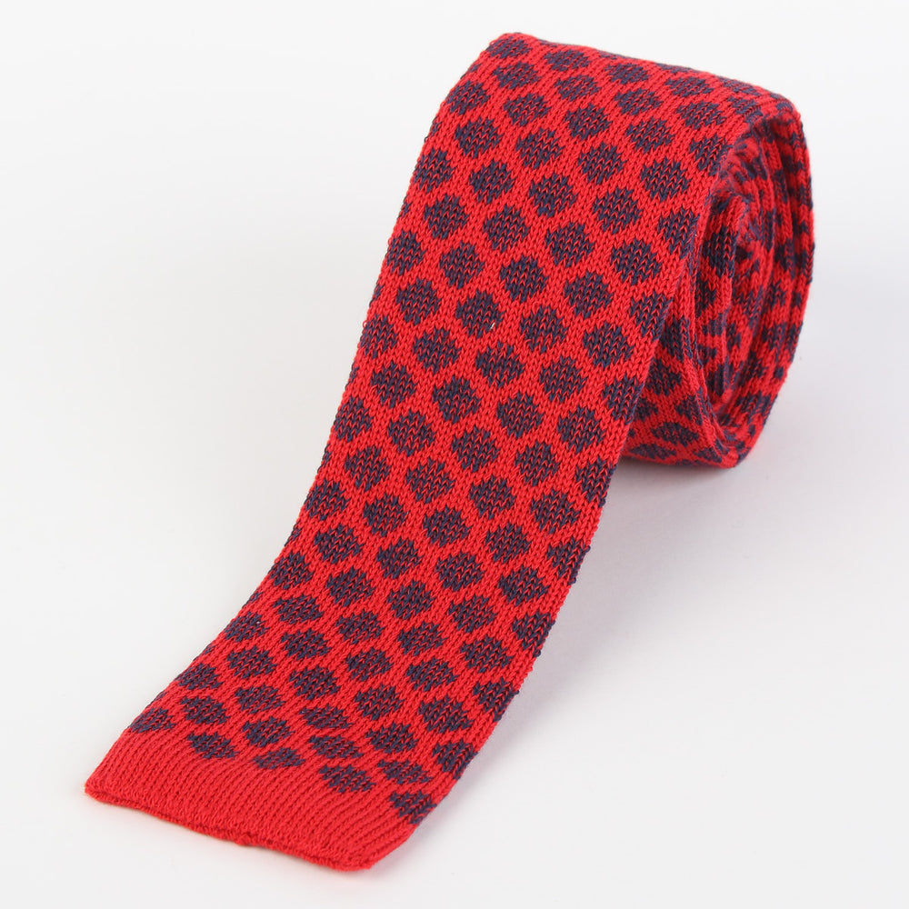 Red/Navy - Geometric Italian Knitted Tie