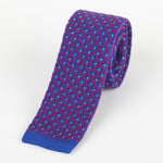Royal/Magenta - Spotted Check Italian Knitted Tie