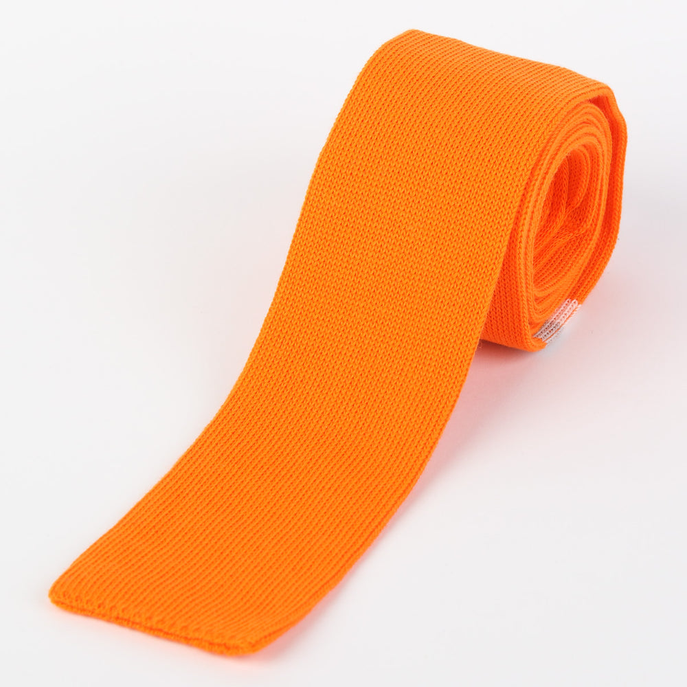 Orange - Placement Stripe Italian Knitted Tie