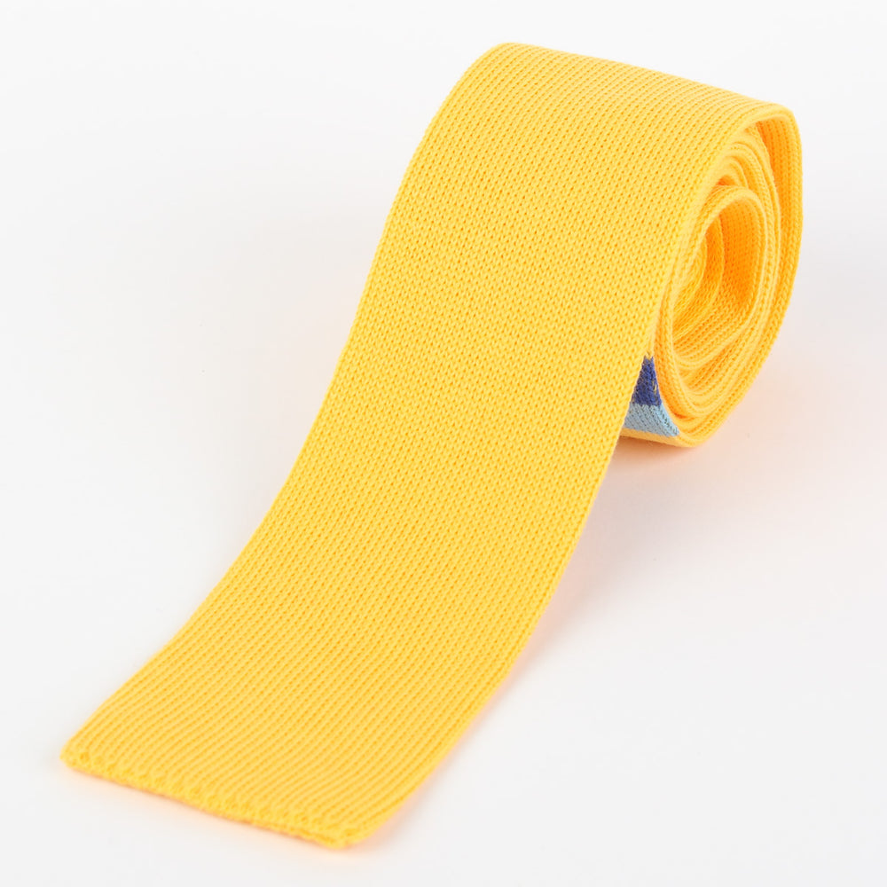 Gold - Placement Stripe Italian Knitted Tie