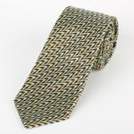 Soft Green/Tan - Zig Zag Geometric Italian Silk Tie