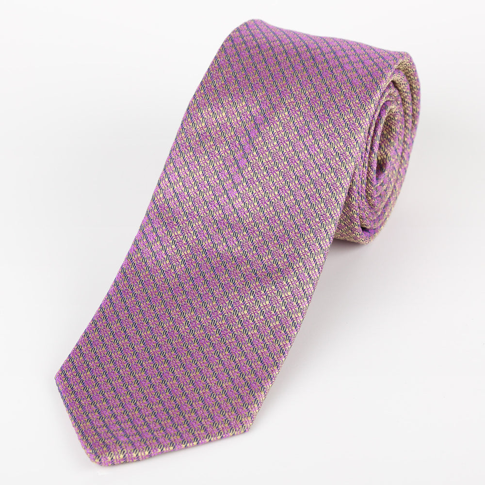 Beige/Purple - Textured Italian Silk Tie