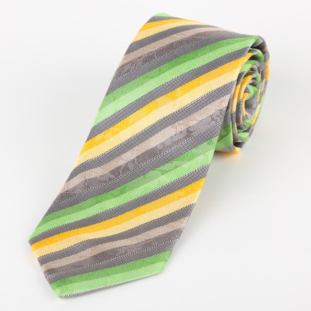 Green/Gold/Grey - Stripped Satin Italian Silk Tie