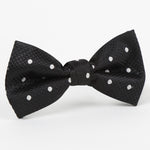 Black/White - Polka Dot Single Dimple Silk Bow Tie