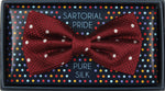 Burg/White - Polka Dot Square Weave Silk Bow Tie