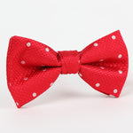 Red/White - Polka Dot Single Dimple Silk Bow Tie