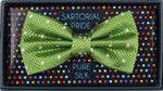 Green/White - Polka Dot Square Weave Silk Bow Tie
