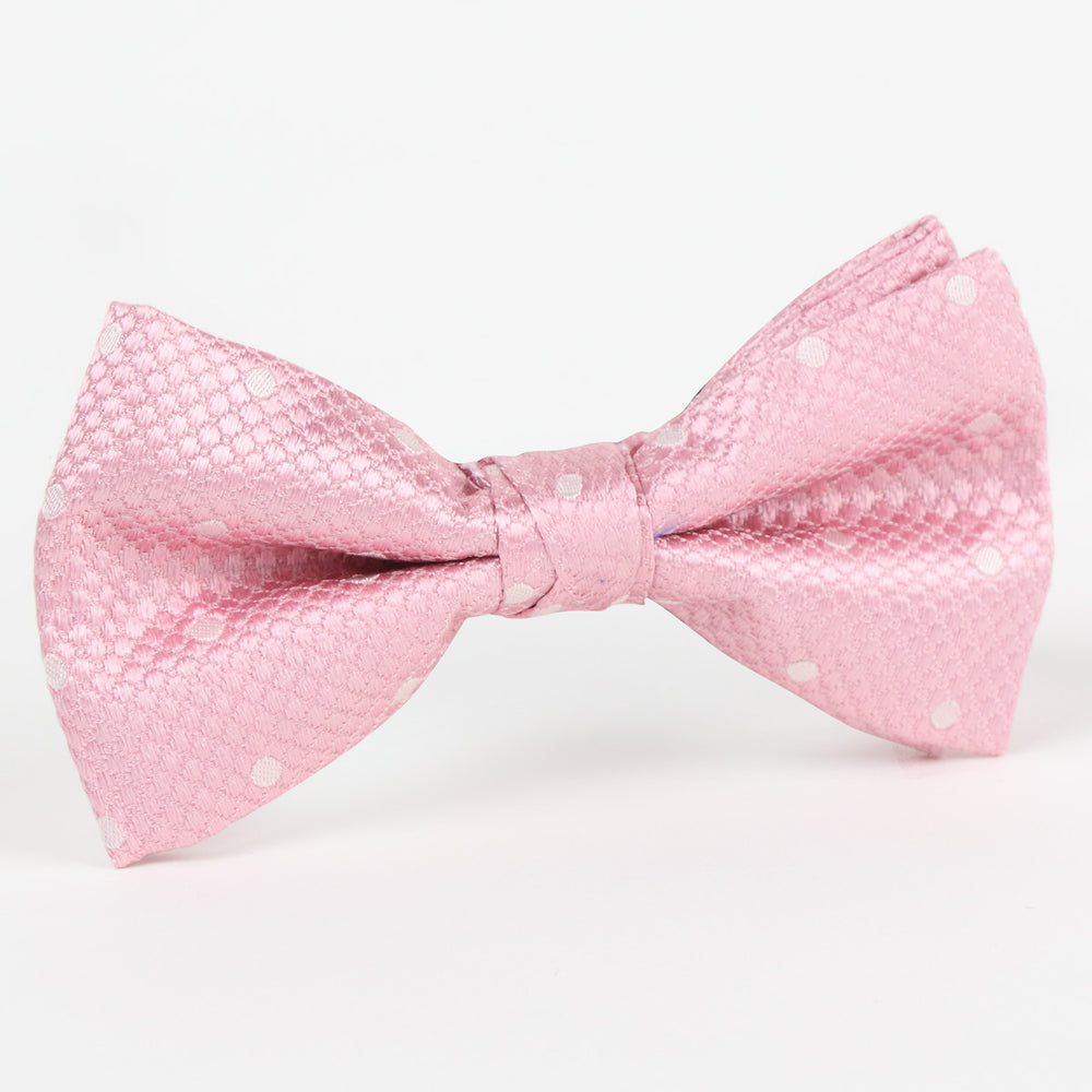 M19546B Luxury Polka Dot Square Weave Pure Silk Bow Ties